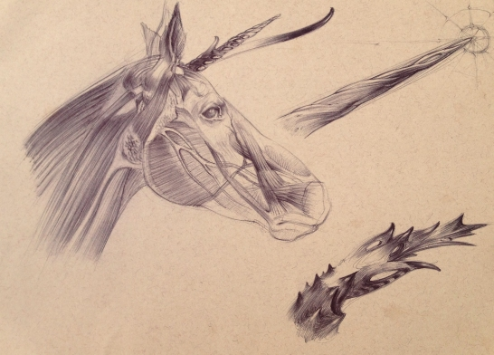 Ball point pen unicorn studies