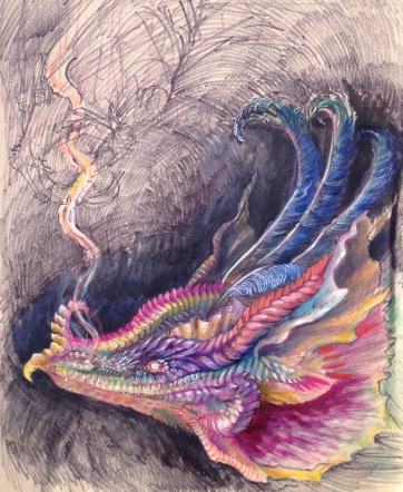 Dragon painting in gouache